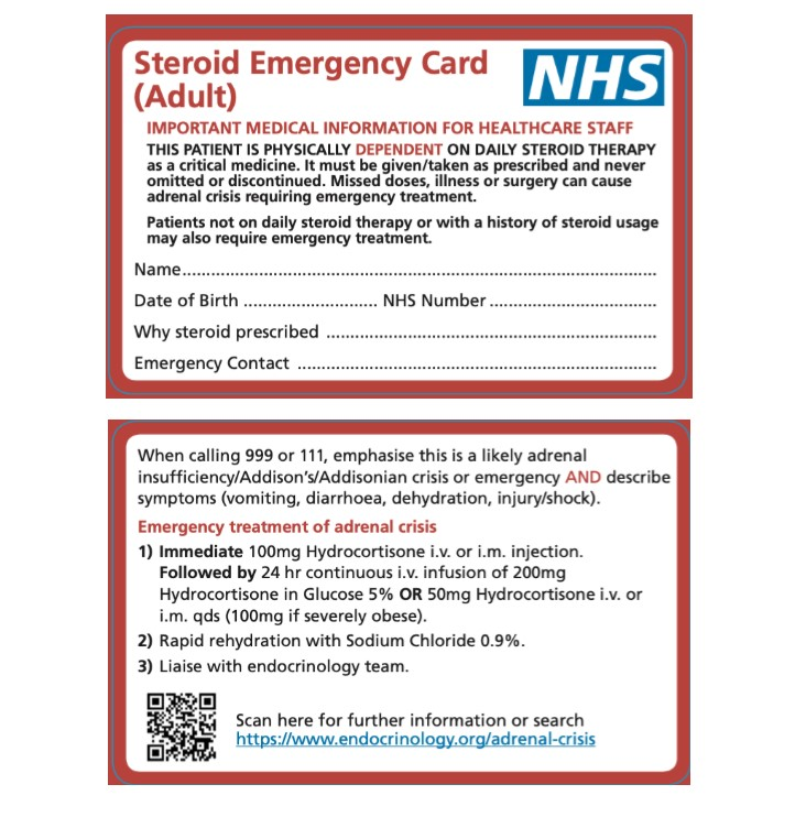 Where to download NHS Steroid Emergency Card